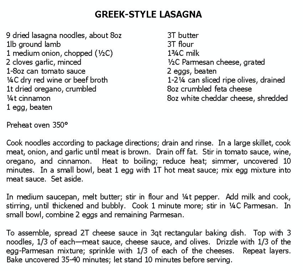 Photo of recipe for Greek Lasagna (please email me for transcribed recipe, if interested)