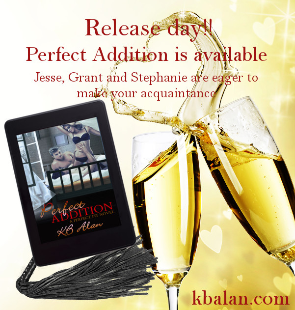 Two champagne glasses with liquid splashing out to form a heart. Tablet with cover of Perfect Addition, sitting on a flogger
